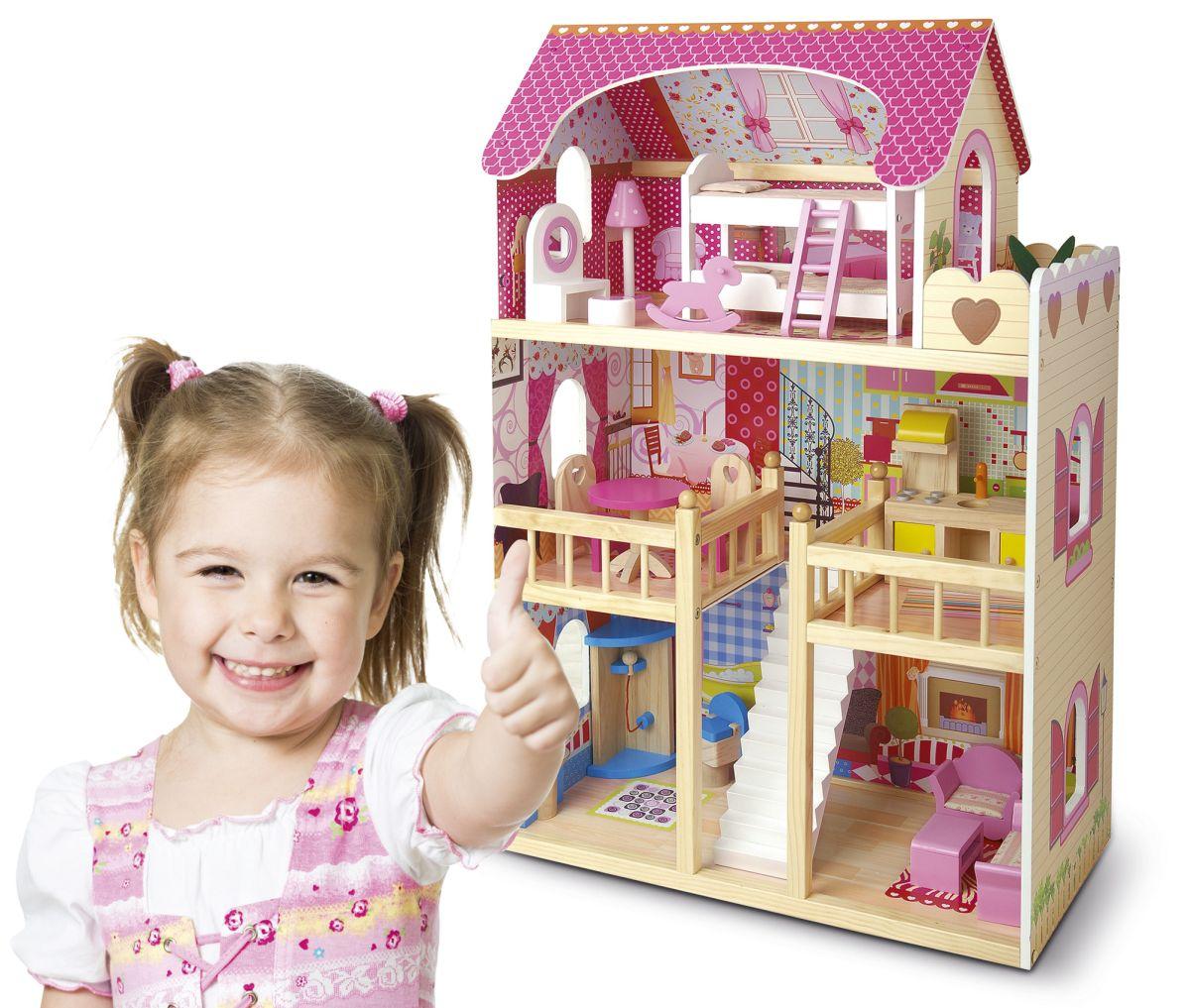 Casa de mu ecas de madera con muebles for Muebles casa de munecas